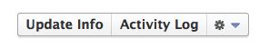 Facebook settings gear/triangle