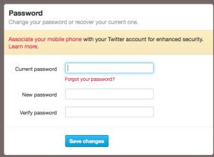 Twitter password settings