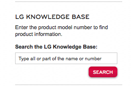 LG products knowledge base