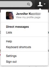 Twitter settings links
