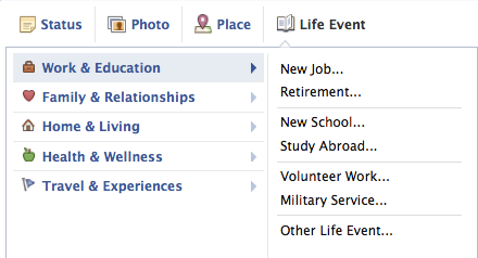 Facebook Life Events menu