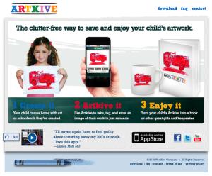 ArtKive app homepage